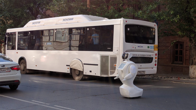 Courageous robot escapes oppressors, runs out of battery in the middle of the road