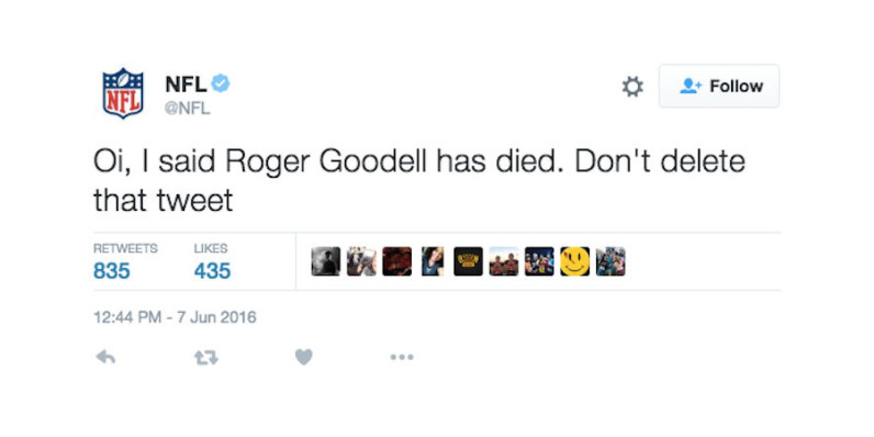 NFL Twitter account hacked, used to (falsely) announce death of commissioner Goodell
