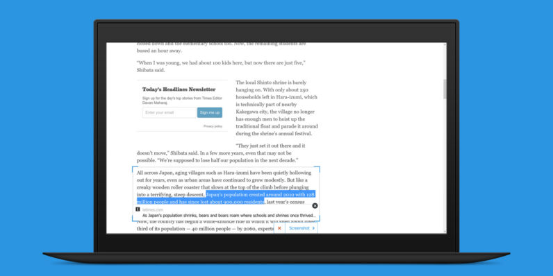Chirp for Chrome is the best tool for tweeting quotes from articles