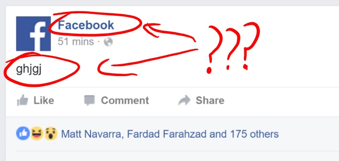 Either Facebook has been hacked, or someone is drunk [Update]