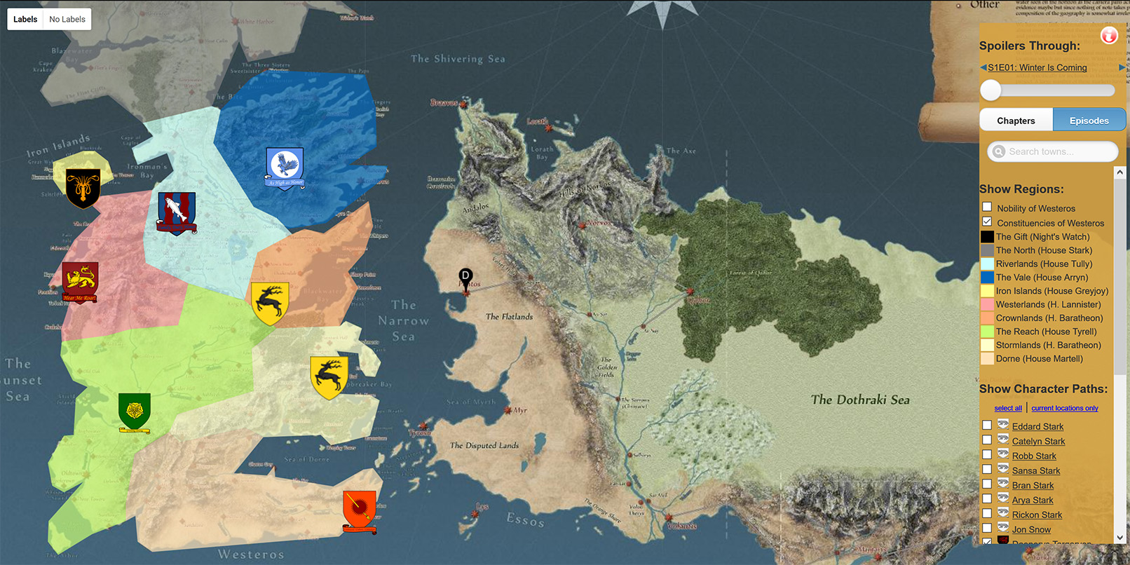 . this map shows you around the game of thrones universe