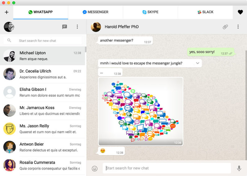 Use this All-in-One Messenger for WhatsApp, Slack and Skype and chat like a boss