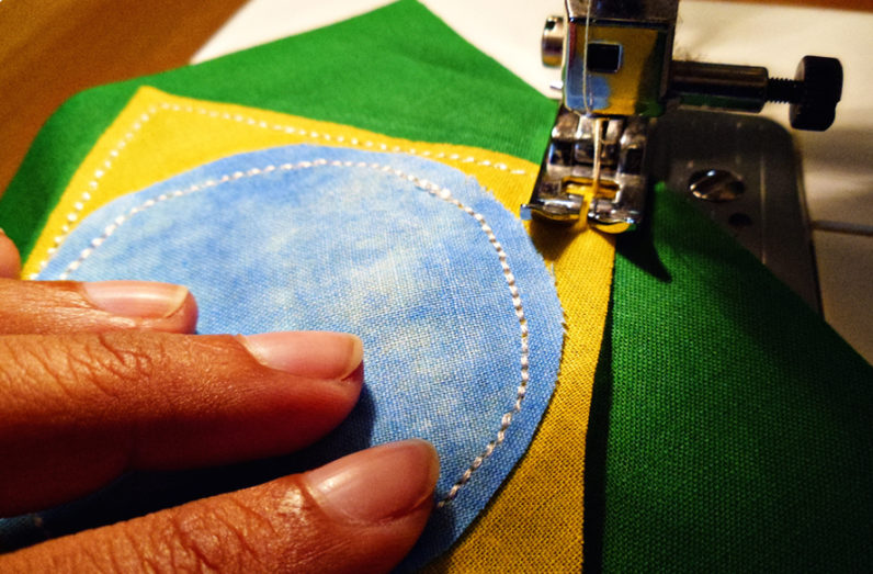 sewing the brazilian flag