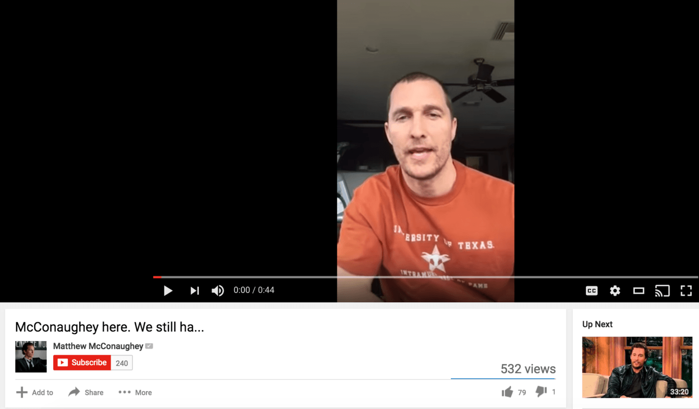 Matthew McConaughey has a verified YouTube channel nobody watches