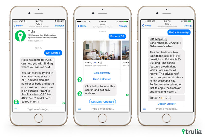 Trulia's new Facebook Messenger bot helps find you a place to live