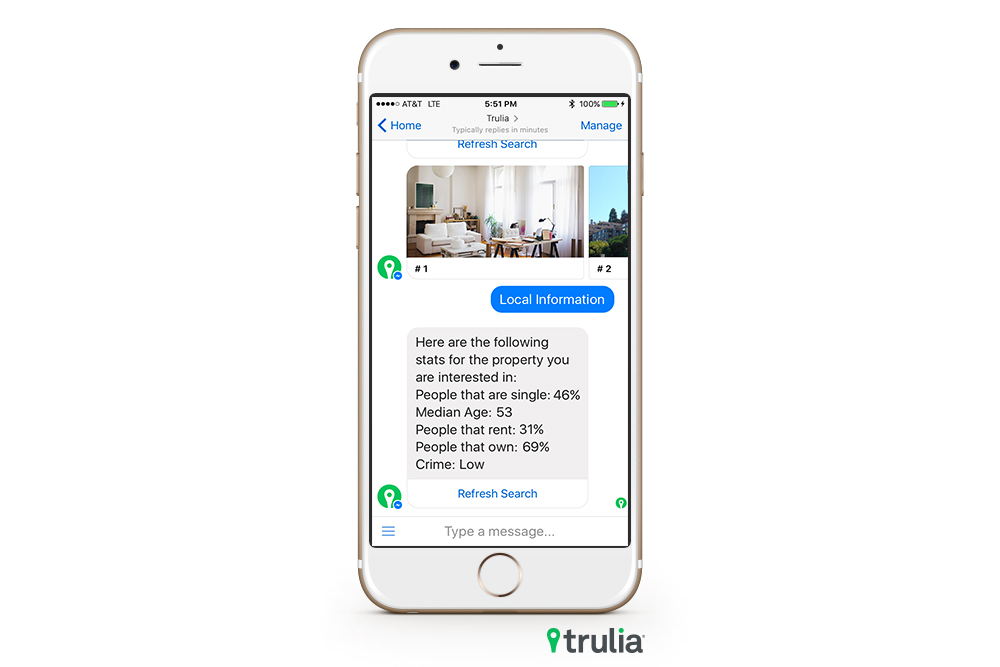 Trulia's Facebook Messenger bot finds you a place to live