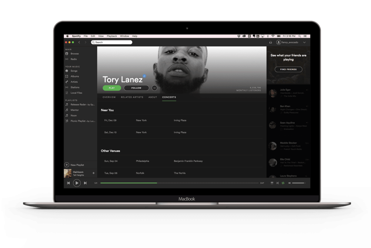 Spotify added a 'Concerts' tab to artist pages so you can actually listen to live music