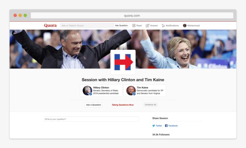 Hillary Clinton Tim Kaine Quora AMA