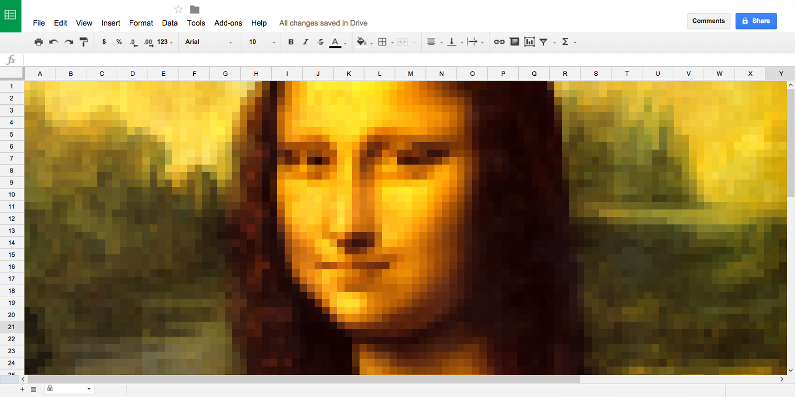 Create pixel art using any image in Google Sheets