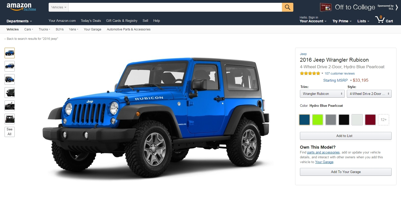Amazon Just Launched Vehicles A Place To Lust After Cars Jeep Wrangler Parts Book