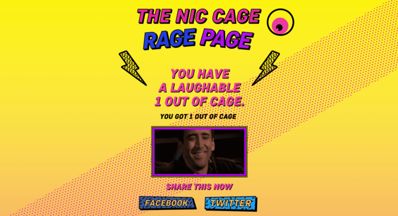Nic Cage 'Rage Page' is obviously meant for the certifiably insane