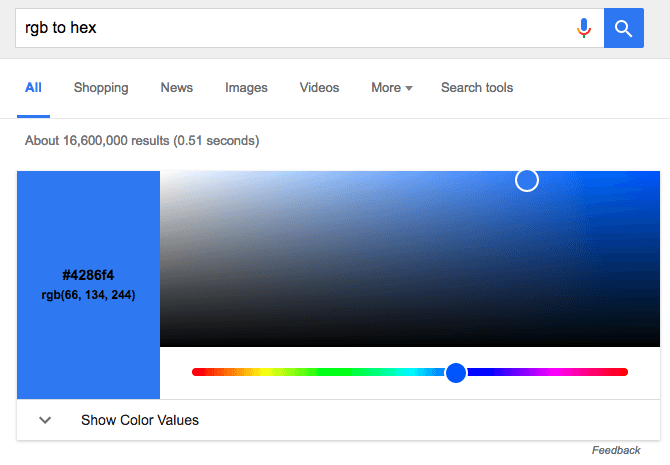 Google now lets you convert between RGB and Hex values