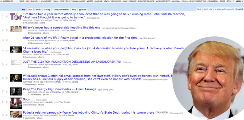 Donald Trump posts briefly took over the front of Reddit due to glitch