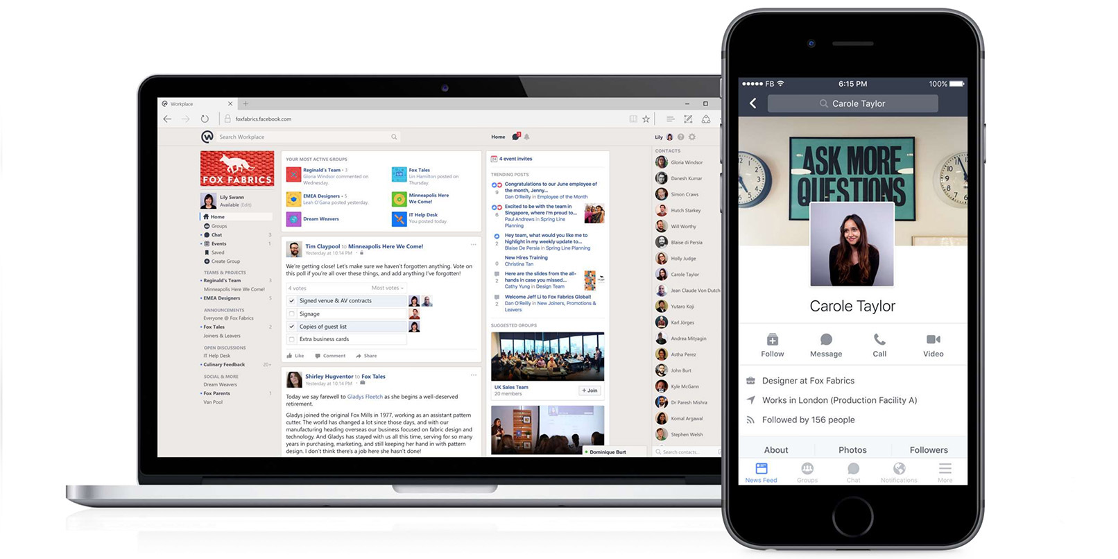 Facebook's Workplace collaboration app for companies is here