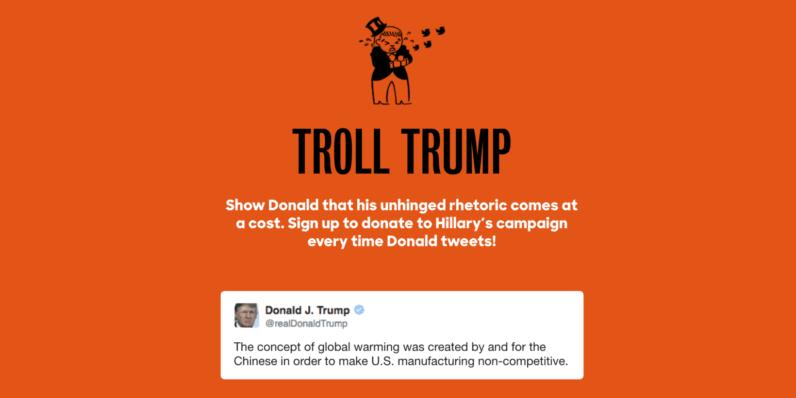 New donation tool makes Clinton $1,100 for each @realDonaldTrump tweet