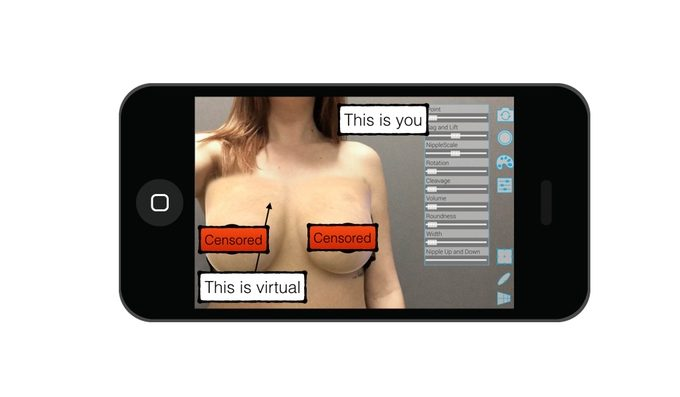 augmented reality, breast enlargement, plastic surgery, illusio