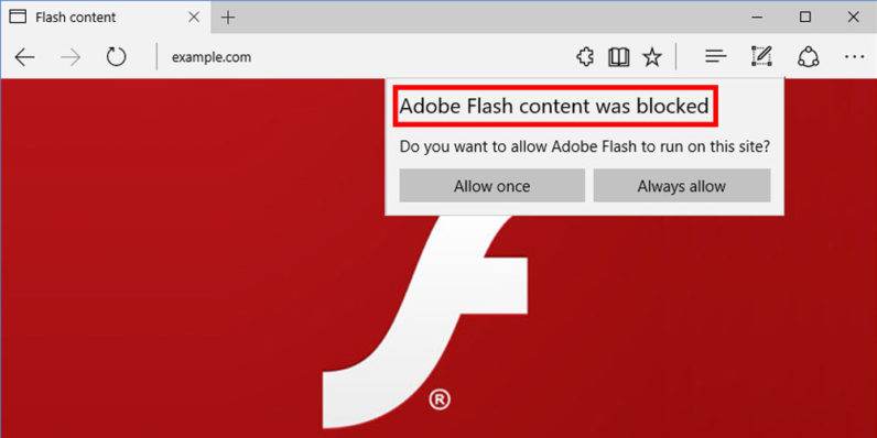 Microsoft Edge will soon stop loading Flash whenever possible