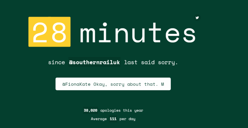 This disgruntled rail user built a site that collects train company apologies