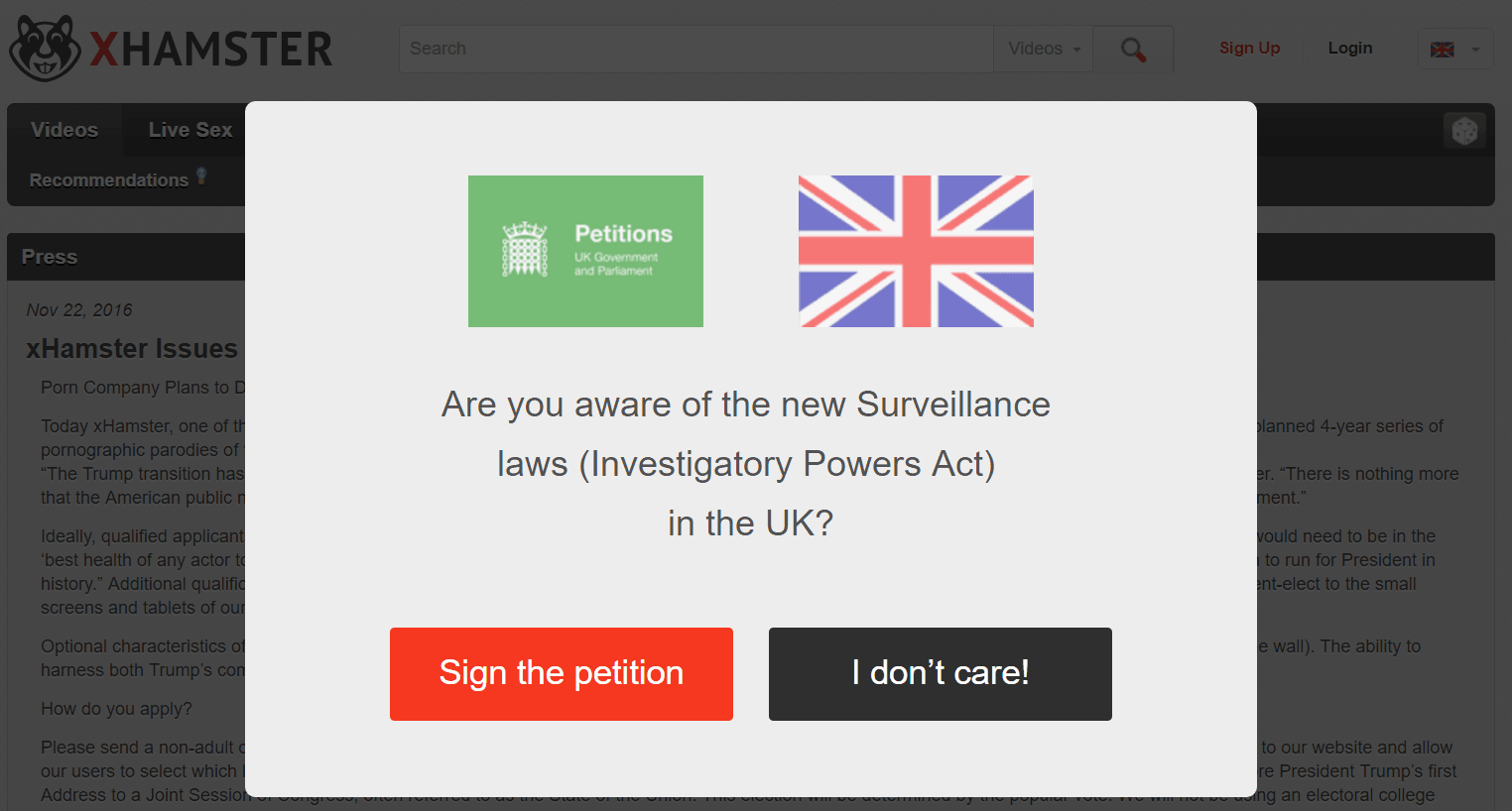 Porn site xHamster is very worried about the Investigatory Powers bill