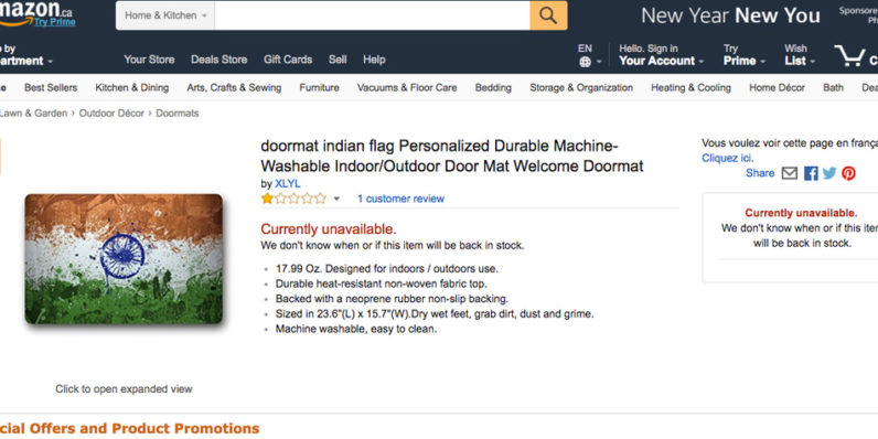 India slams Amazon over sale of national flag doormats