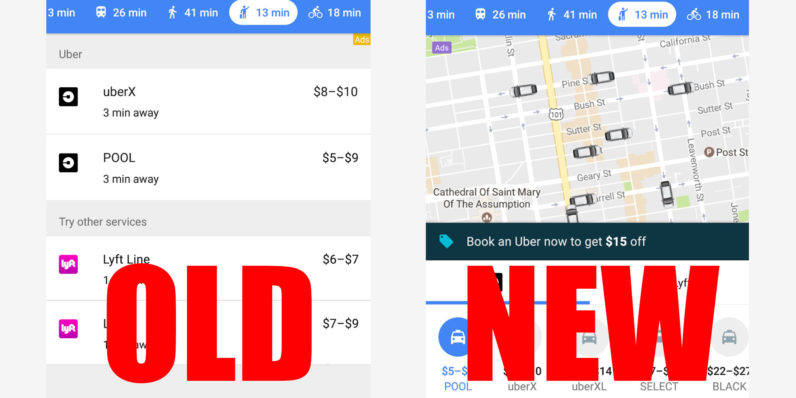 Google Maps now displays Uber drivers in real-time