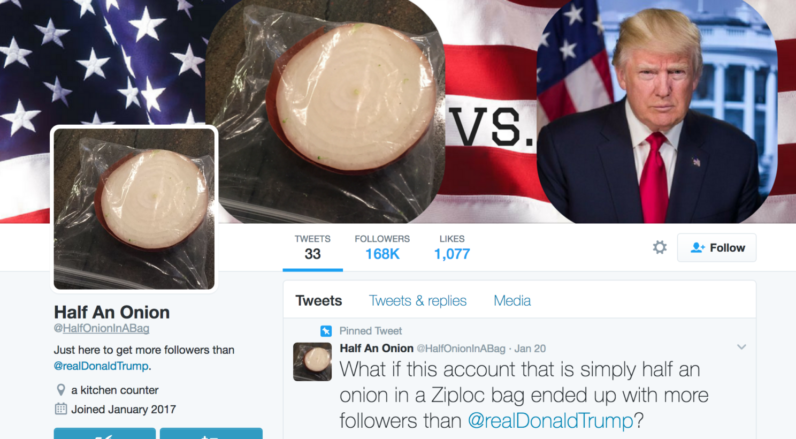 Donald Trump's newest Twitter rival is… an onion in a bag?