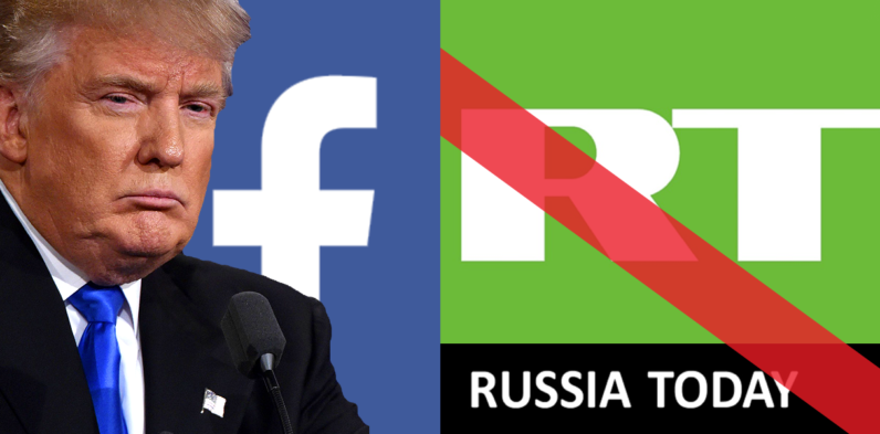 donald trump, trump, rt, facebook, ban, russian media
