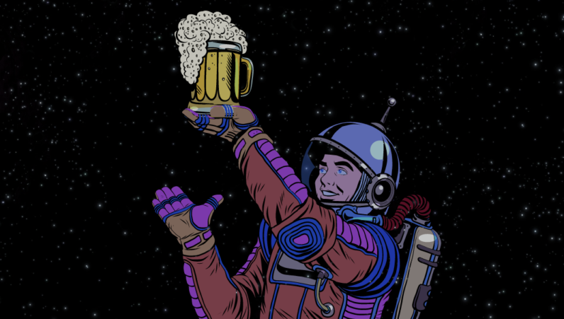 students, beer, moon