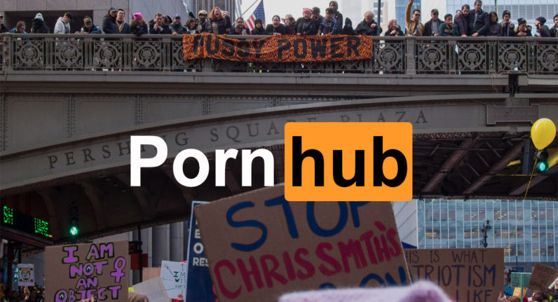 pornhub, women's march, trump, traffic