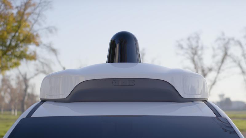 One of the three LiDAR sensors on Waymo's Chrysler Pacifica Hybrid minivan