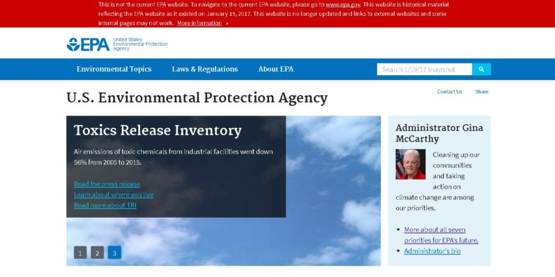 A pre-Trump version of the EPA website exists — you know, just in case
