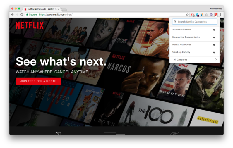 netflix, chrome, hidden categories, plugin, extension