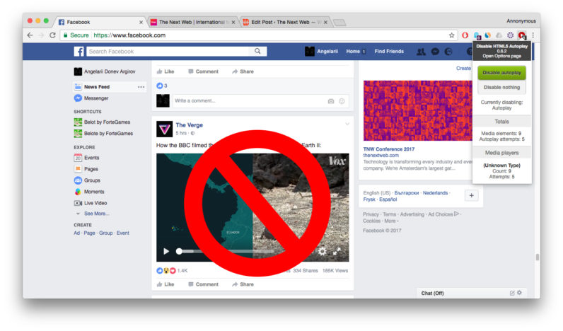 facebook, autoplay, chrome, extension, video, audio