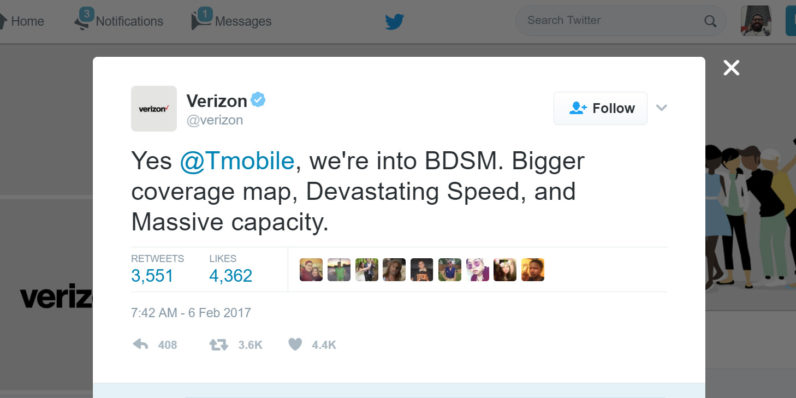 Verizon and T-Mobile engaged in a bondage-themed Twitter battle during the Super Bowl