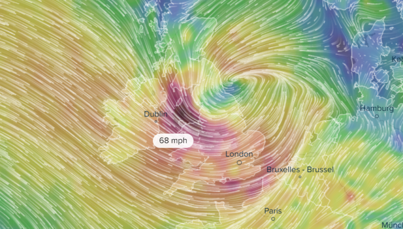 This online wind map of Storm Doris blasting Europe is strangely beautiful