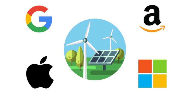 google, apple, amazon, microsoft, clean energy, trump