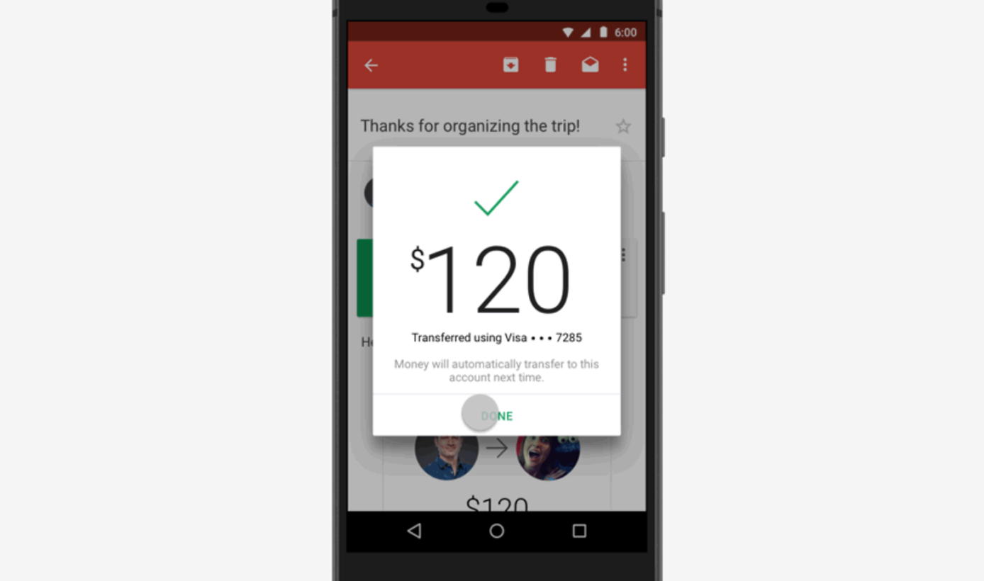 Google now lets you send money via Gmail on Android