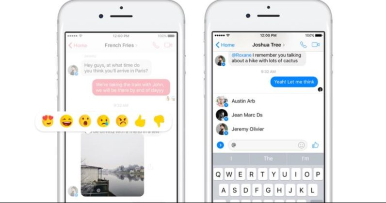 Facebook adds Mentions and Reactions to chats on Messenger