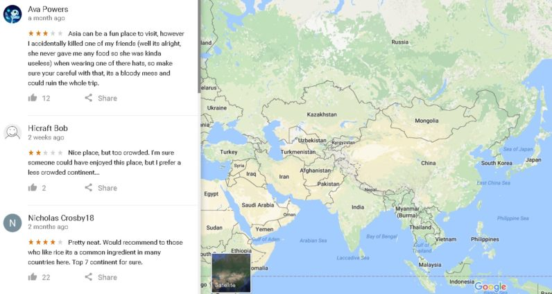 Google Maps Lets People Review Continents Guess What Happened - What continent is afghanistan in