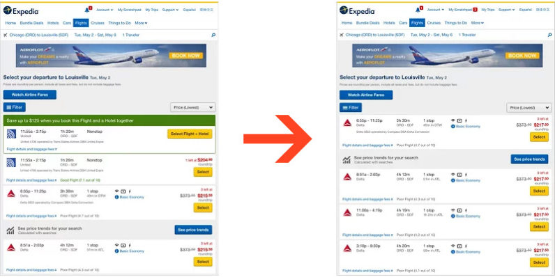 Hide United flights from search results with this handy extension