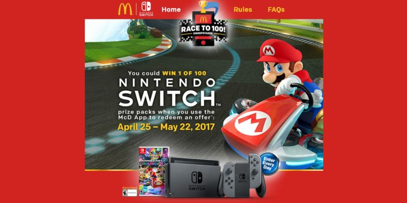 McDonald's is giving away the elusive Nintendo Switch