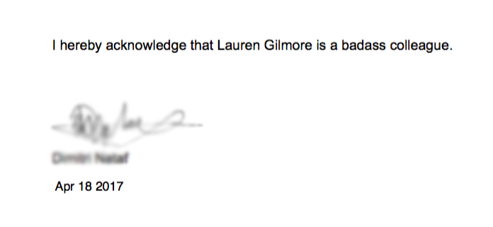 I reviewed an e-signature product and now a co-worker is legally bound to adore me