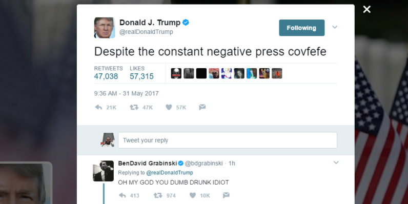 Trump derails Twitter with a typo and we all covfefe