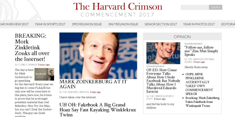 Hacker trolls Zuckerberg commencement speech by defacing Harvard newspaper