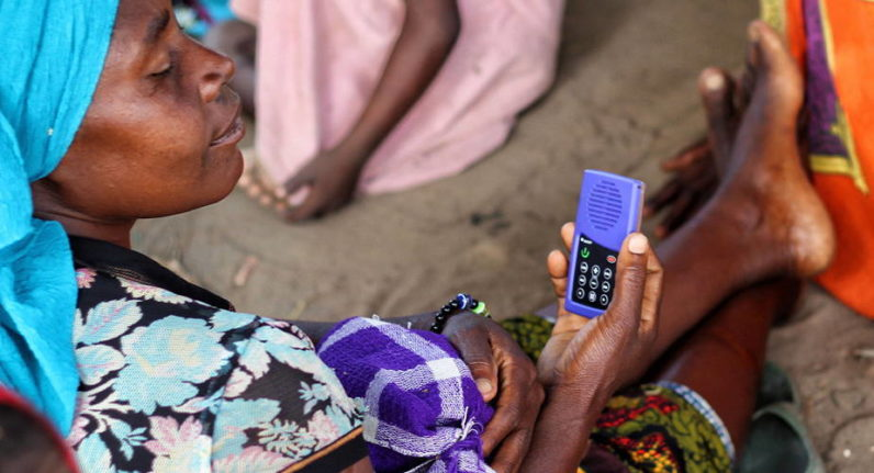Tanzanian project uses a solar-powered MP3 player to educate women who can't read