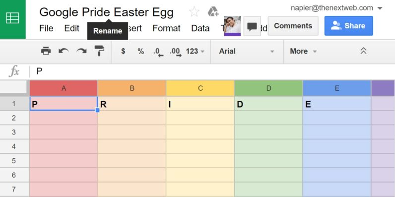 Google Easter egg celebrates Pride in your spreadsheets