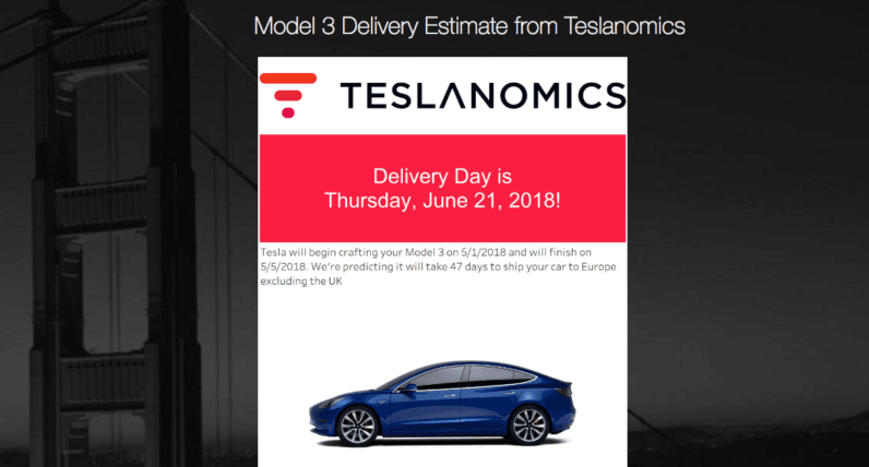 tesla, model 3, delivery, estimator