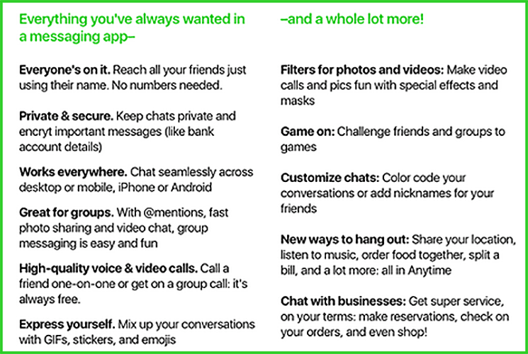Screenshot reportedly from an Amazon survey about a chat app called 'Anytime'