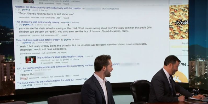 Redditor's NSFW user history unwittingly stole the show on Jimmy Kimmel Live