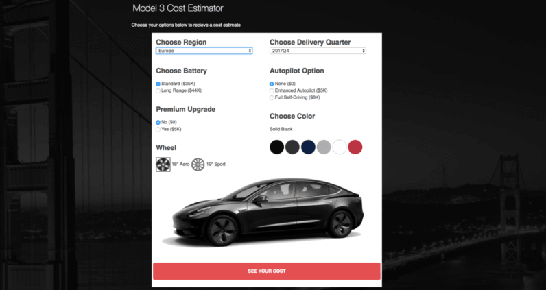 tesla calculator estimates how much it actually costs to buy a model 3. Black Bedroom Furniture Sets. Home Design Ideas